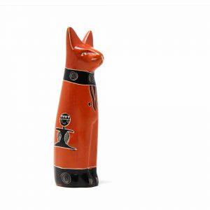 HANDCRAFTED 5-INCH SOAPSTONE SITTING CAT SCULPTURE IN ORANGE – SMOLART