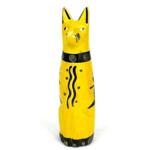 HANDCRAFTED 5-INCH SOAPSTONE SITTING CAT SCULPTURE IN YELLOW – SMOLART