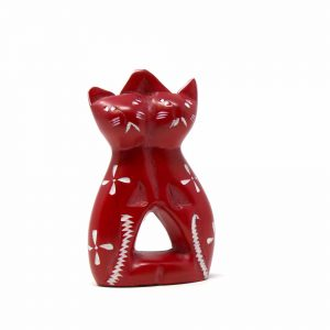 HANDCRAFTED 4-INCH SOAPSTONE LOVE CATS SCULPTURE IN BRICK – SMOLART