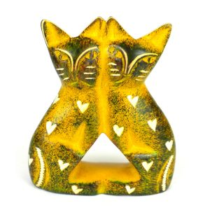 HANDCRAFTED 4-INCH SOAPSTONE LOVE CATS SCULPTURE IN YELLOW – SMOLART