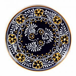 HANDMADE POTTERY 8″ TRIVET OR WALL HANGING, BLUE – ENCANTADA