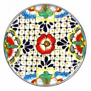 HANDMADE POTTERY 8″ TRIVET OR WALL HANGING, DOTS & FLOWERS – ENCANTADA