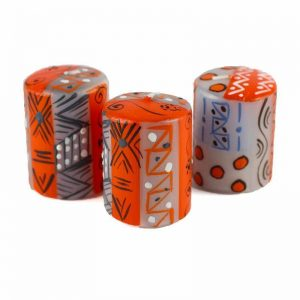 HAND PAINTED CANDLES IN KUKOMO DESIGN (BOX OF THREE) – NOBUNTO