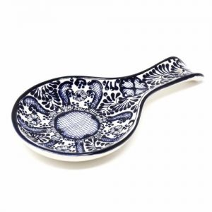 HANDMADE POTTERY SPOON REST, BLUE FLOWER – ENCANTADA