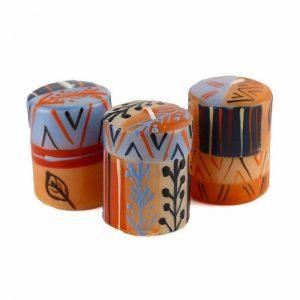 HAND PAINTED CANDLES IN UZUSHI DESIGN (BOX OF THREE) – NOBUNTO