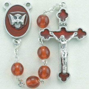 6MM RED WOOD BEAD CONFIRMATION ROSARY