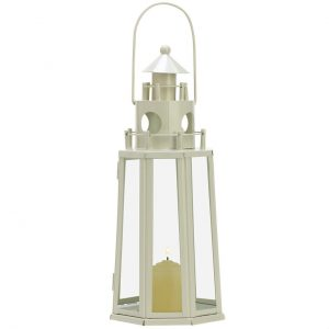 Ivory Lighthouse Candle Lantern – 12 inches