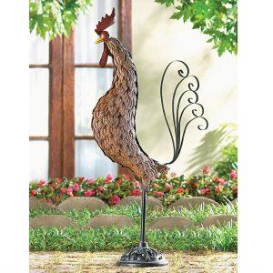Iron Rooster Art Sculpture