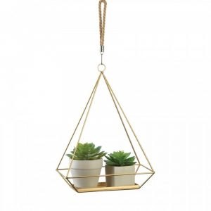 Rectangular Metal Hanging Plant Holder with Rope