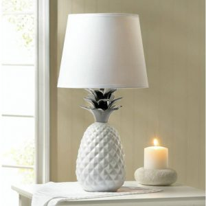White Pineapple Lamp with Silver Leaves