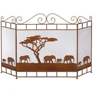 Elephants on the Savannah Fireplace Screen