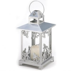 Silver Scrolls Candle Lantern – 15.5 inches