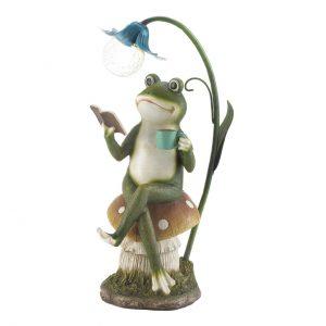 Frog Reading on Mushroom Solar Garden Light