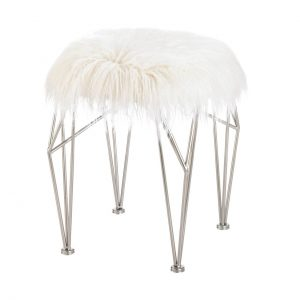 Silver Geometric Vanity Stool with White Faux Fur