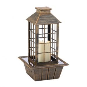 LED Candle Lantern Tabletop Water Fountain – Brushed Bronze