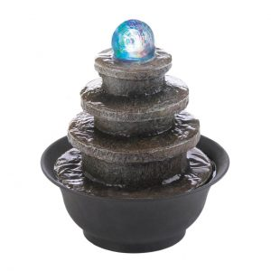 Lighted Stone-Look Tiered Round Tabletop Water Fountain