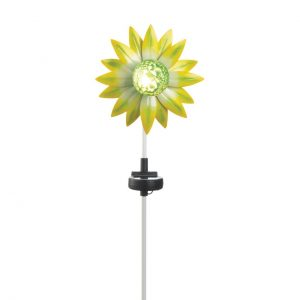 Solar Lighted Garden Stake – Green and Yellow Flower