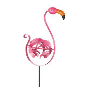 Pink Flamingo Wind Spinner Yard Stake