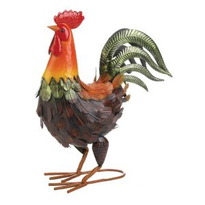 Colorful Country Rooster Metal Statue