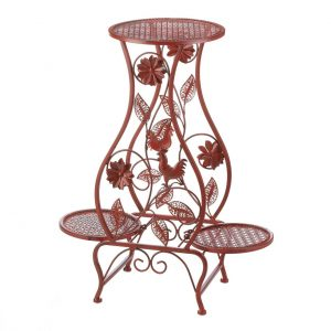 Red Rooster Iron Triple Plant Stand