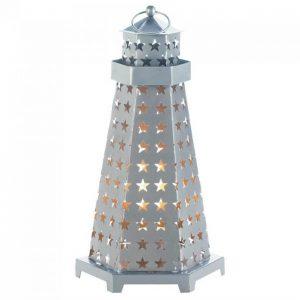 Star Cutouts Lighthouse Metal Candle Lantern