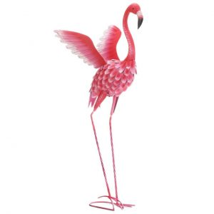 Flying Flamingo Metal Garden Decor – 37.5 inches