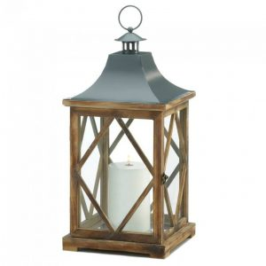 Diamond-Side Wood Candle Lantern – 20.5 inches