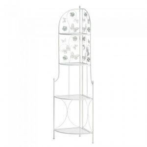 Butterfly-Themed White Iron Four-Tier Corner Shelf
