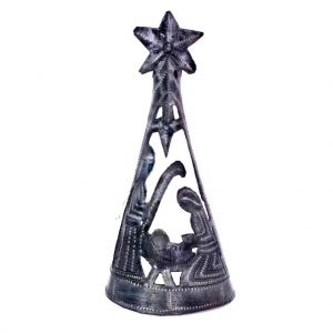 CHRISTMAS TREE WITH NATIVITY –TREE TOPPER (7 INCH) – CROIX DES BOUQUETS