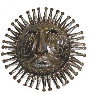 10″ HAITIAN METAL STEEL DRUM SUN FACE IN NATURAL – CARIBBEAN CRAFT