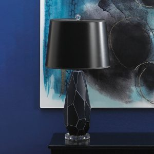 Dark Blue Gem Table Lamp with Black Paper Shade
