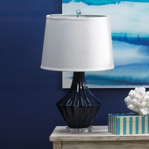 Blue and White Porcelain Table Lamp with Linen Shade