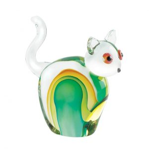 Art Glass Figurine – Green and Yellow Cat