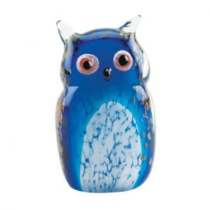 Art Glass Figurine – Blue Owl