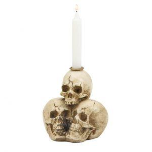 Triple Skulls Taper Candle Holder