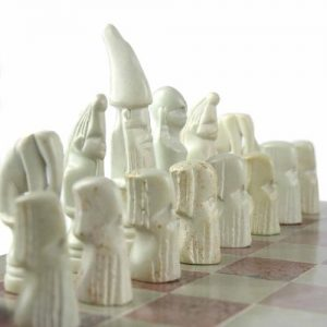 HAND CARVED SOAPSTONE MAASAI CHESS SET – 14″ BOARD – SMOLART
