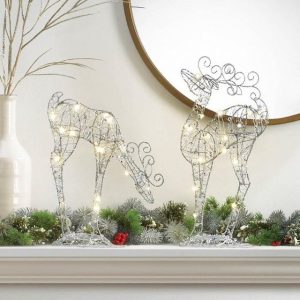 Light-Up Leaning Down Reindeer Decor – 14 inches