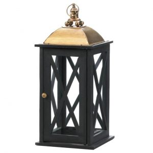 Black Wood Candle Lantern with Bold Metal Top – 21 inches