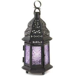 Lavender Glass Moroccan Candle Lantern – 11 inches