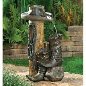 Cowboy Themed Garden Fountain