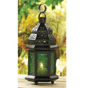 Emerald Glass Moroccan Candle Lantern – 10 inches