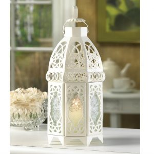Lacy Cutout White Candle Lantern – 12 inches