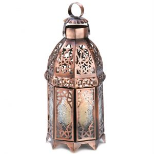 Lacy Cutout Copper-Tone Candle Lantern – 9.5 inches