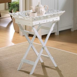 Romantic White Serving Tray with Stand with Two Drawers