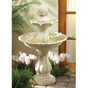 Stone-Look Two-Tier Acorn Fountain