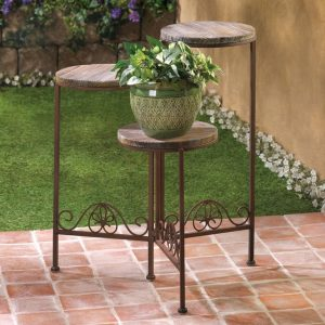 Folding Wood-Top Multi-Level Plant Stand
