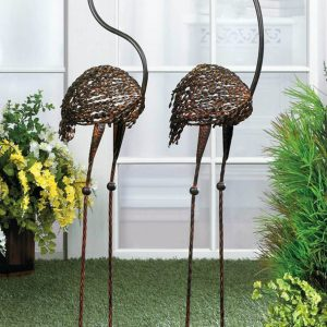 Cast Iron Flamingo Yard Art Pair