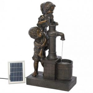 Kids with Water Pump Solar Garden Fountain