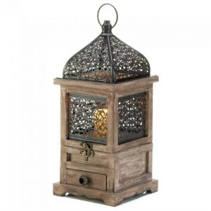 Flip-Top Wood Lantern with Drawer – 14 inches