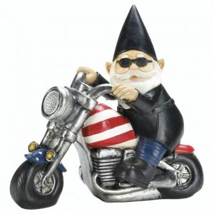Biker Gnome Solar Garden Statue